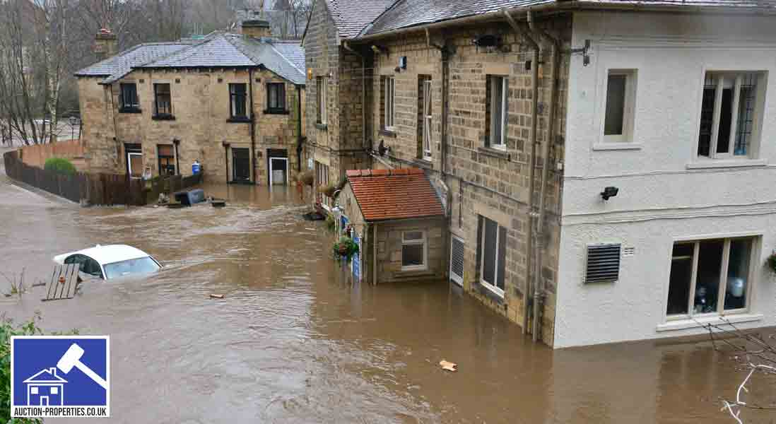 Image showing homes in the UK flooded by rising rainfall