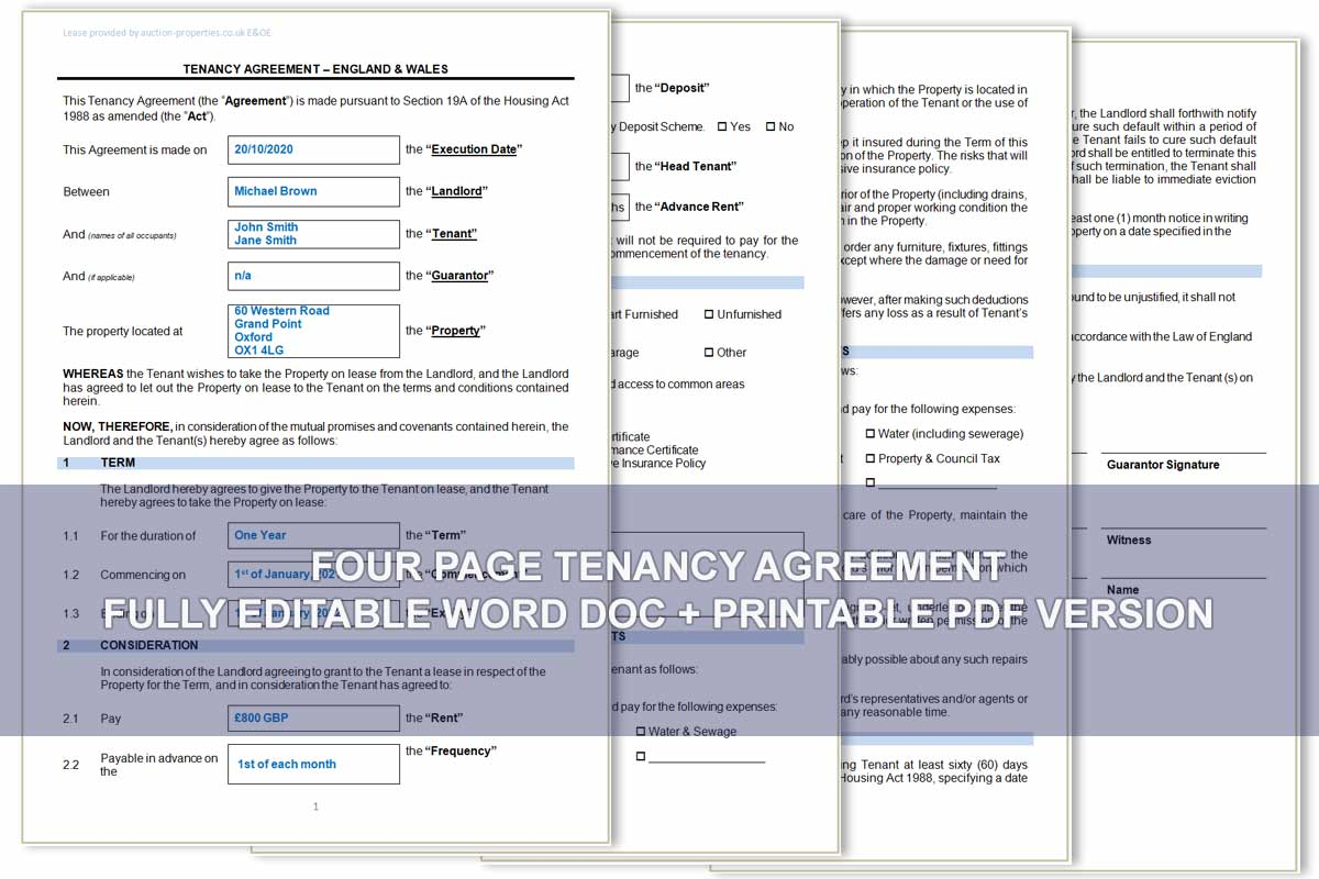 Image showing sample from our tenancy agreement word doc